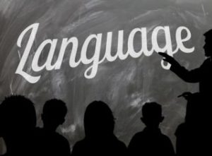 Language written on a blackboard