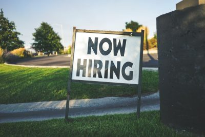 is recruitment a good career; a now hiring sign
