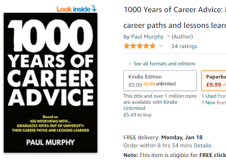 1000 Years of Career Advice Background; Picture of a Book