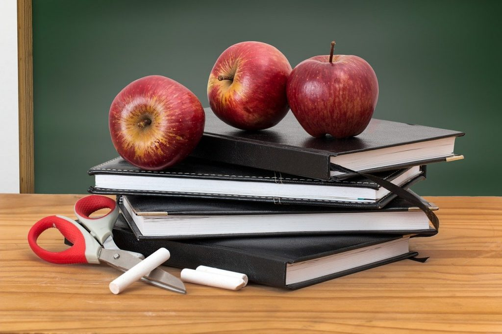 Pros and Cons of Being a Teacher: school, books, apples